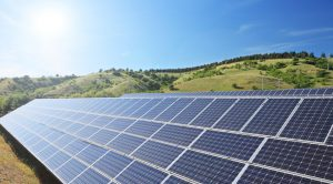 Solar photovoltaic cell panels under sunny sky